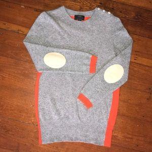 J. Crew gray + orange sweater with cashmere {S}